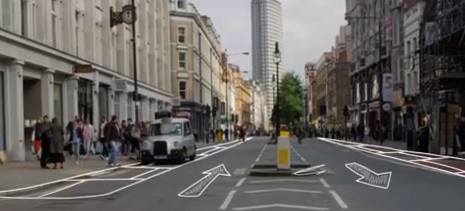 Under the proposal, Tottenham Court Road reverts to two-way traffic for buses and cycling. Pavements are widened.